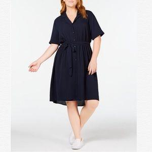 Monteau Trendy Plus Size Tie-Waist Shirtdress
